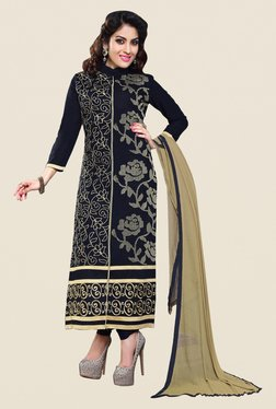 Fabfella Black Embroidered Dress Material