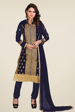 Fabfella Navy Embroidered Dress Material