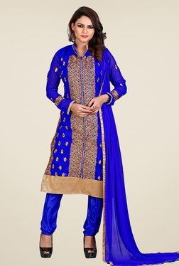 Fabfella Blue Embroidered Dress Material