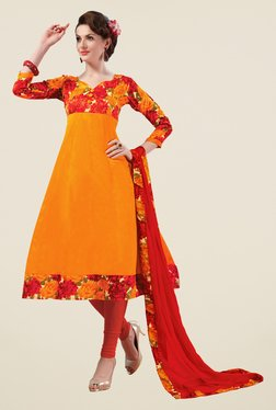 Fabfella Orange & Red Floral Print Dress Material