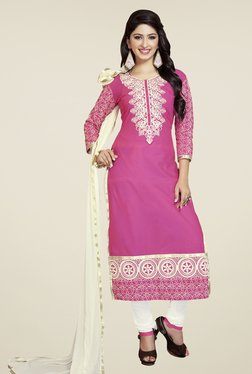 Fabfella Pink & White Embroidered Dress Material