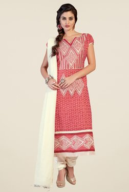 Fabfella Peach & Cream Embroidered Dress Material