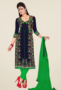 Fabfella Navy & Green Embroidered Dress Material