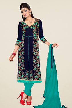 Fabfella Navy & Teal Embroidered Dress Material