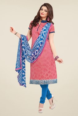 Fabfella Pink & Blue Embroidered Dress Material