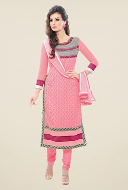 Fabfella Light Pink Embroidered Dress Material