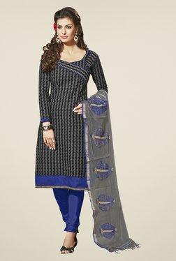 Fabfella Black & Blue Printed Dress Material