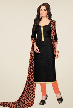 Fabfella Black & Orange Printed Dress Material