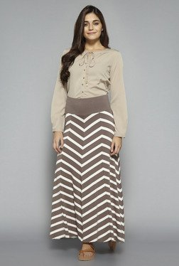 LOV by Westside Beige Solid Blouse
