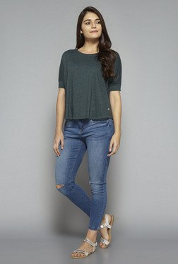 LOV by Westside Dark Green Textured T Shirt