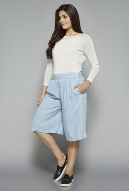LOV by Westside Light Blue Solid Shorts