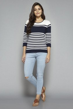 LOV by Westside Navy Striped T Shirt