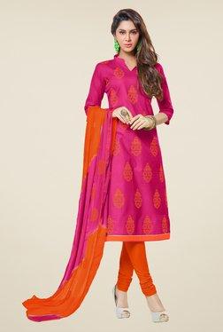 Fabfella Pink & Orange Embroidered Dress Material