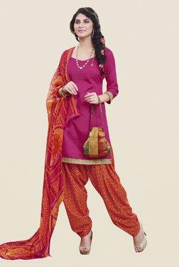 Fabfella Pink & Orange Solid Dress Material