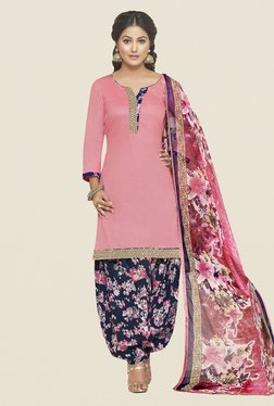 Fabfella Pink & Navy Solid Dress Material