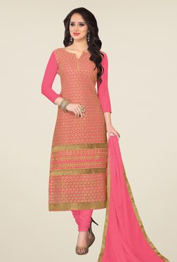 Fabfella Pink & Gold Embroidered Dress Material