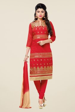 Fabfella Red Embroidered Dress Material