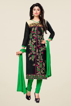 Fabfella Black & Green Embroidered Dress Material