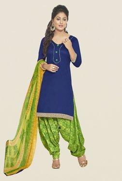Fabfella Navy & Green Solid Dress Material
