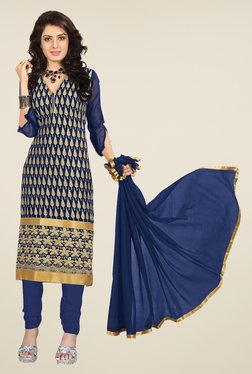 Fabfella Navy & Gold Embroidered Dress Material