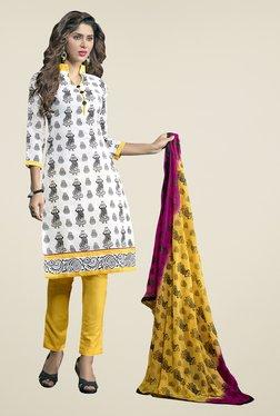 Fabfella White & Yellow Printed Dress Material