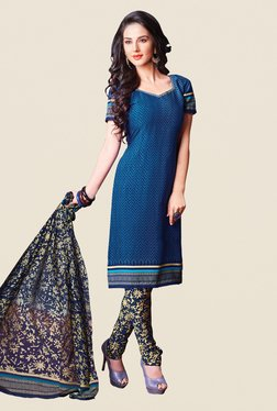 Fabfella Blue Printed Dress Material