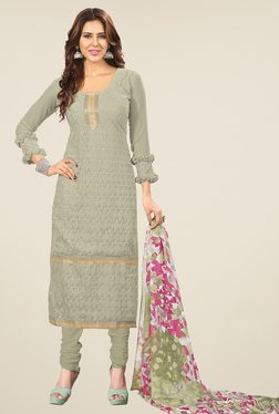 Fabfella Grey Embroidered Dress Material
