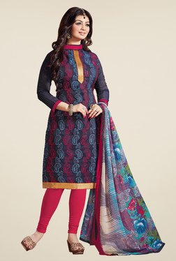 Fabfella Navy & Pink Embroidered Dress Material