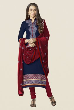 Fabfella Navy & Maroon Embroidered Dress Material