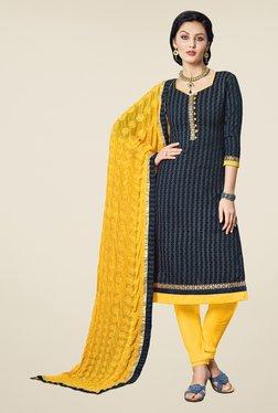 Fabfella Navy & Yellow Printed Dress Material