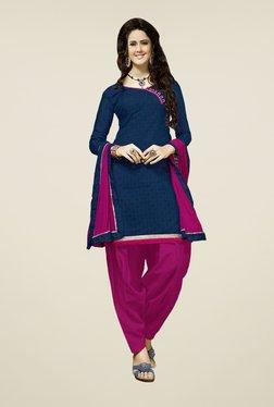 Fabfella Navy & Pink Printed Dress Material