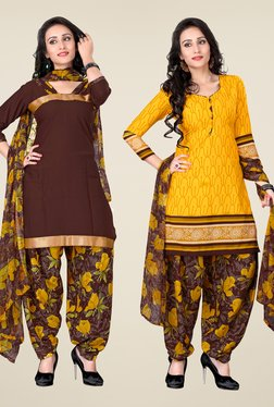 Fabfella Brown & Yellow Printed Dress Material (Pack Of 2)