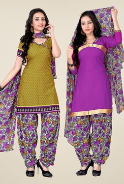 Fabfella Olive & Purple Printed Dress Material (Pack Of 2)