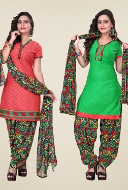 Fabfella Coral & Green Printed Dress Material (Pack Of 2)