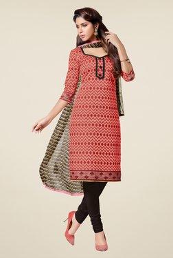 Fabfella Pink & Black Printed Dress Material
