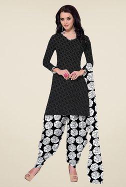 Fabfella Black & White Polka Dot Dress Material