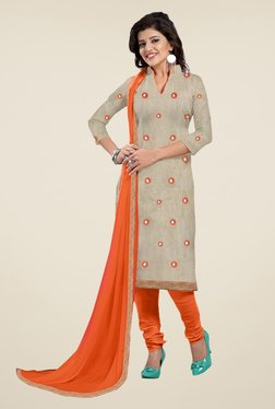 Fabfella Beige & Orange Embroidered Dress Material