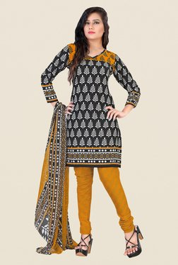 Fabfella Black & Mustard Printed Dress Material