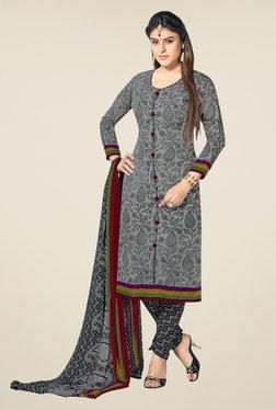 Fabfella Grey Floral Print Dress Material
