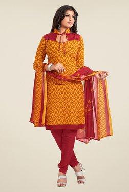 Fabfella Yellow & Maroon Printed Dress Material