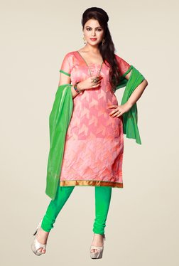 Fabfella Pink & Green Embroidered Dress Material
