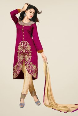 Fabfella Pink & Beige Embroidered Dress Material