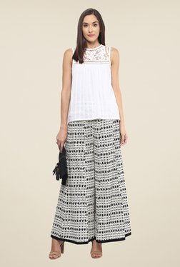 Fusion Beats Off White Printed Palazzos