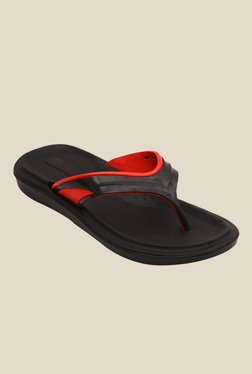 Nexa Comfort Black & Red Flip Flops