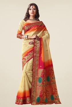 Ishin Beige Printed Poly Silk Saree
