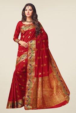 Ishin Red Printed Poly Silk Saree