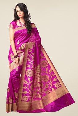 Ishin Magenta Printed Poly Silk Saree