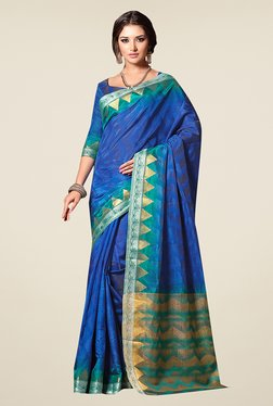 Ishin Blue Printed Poly Silk Saree - Mp000000000593393