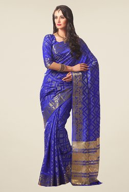 Ishin Blue Printed Poly Silk Saree - Mp000000000593403