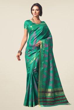Ishin Teal Printed Poly Silk Saree